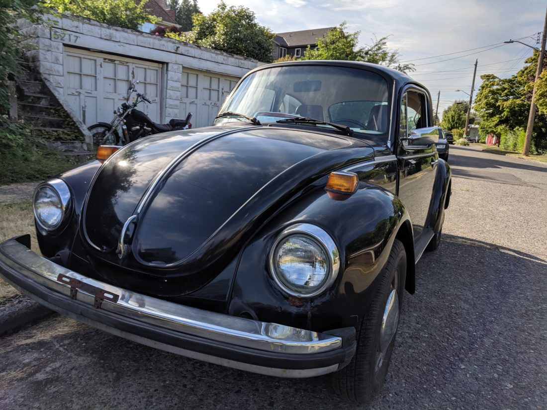 Picture of a 1974 Black Volkswagen Beetle