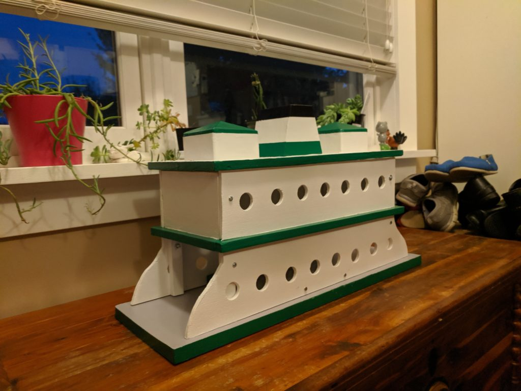 A model made to look like a ferry boat.