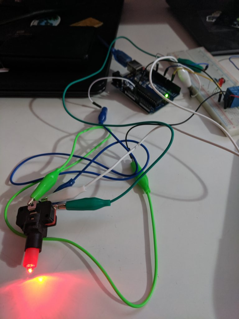 Testing a LED button with alligator clips