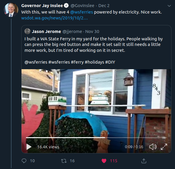 "Jay Inslee, Governor of Washington State, said ""Nice work"" on Twitter."